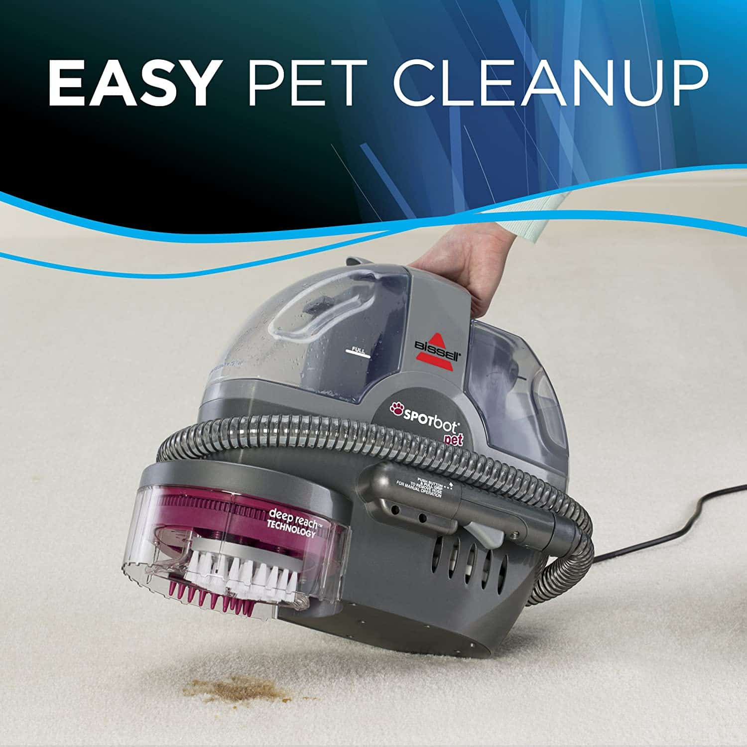 Best portable carpet cleaner for pet stains: Bissell 33N8A Spotbot