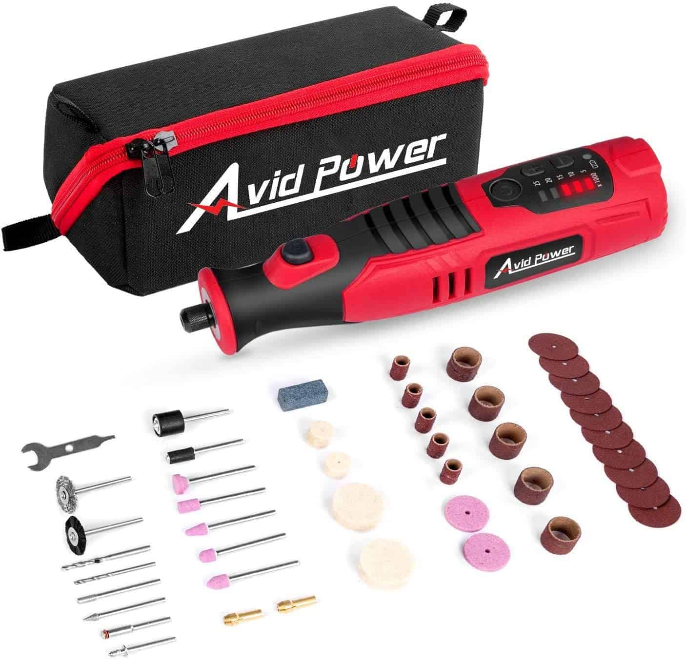 Best budget cordless rotary tool complete kit- AVID POWER with 2.0 Ah 8V Li-ion Battery