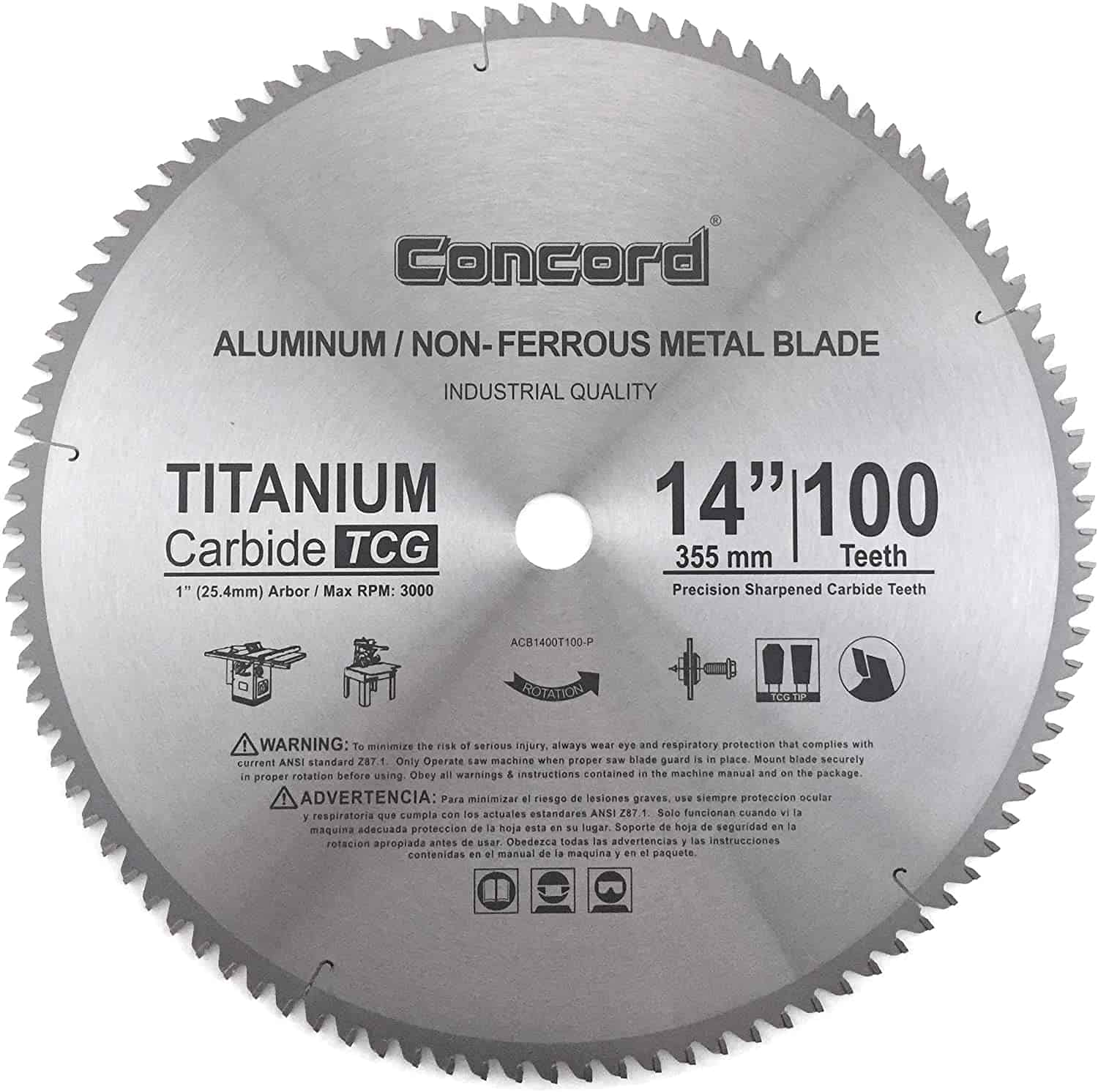 Best overall saw blade- Concord Blades ACB1400T100HP Non-Ferrous Metal Saw Blade