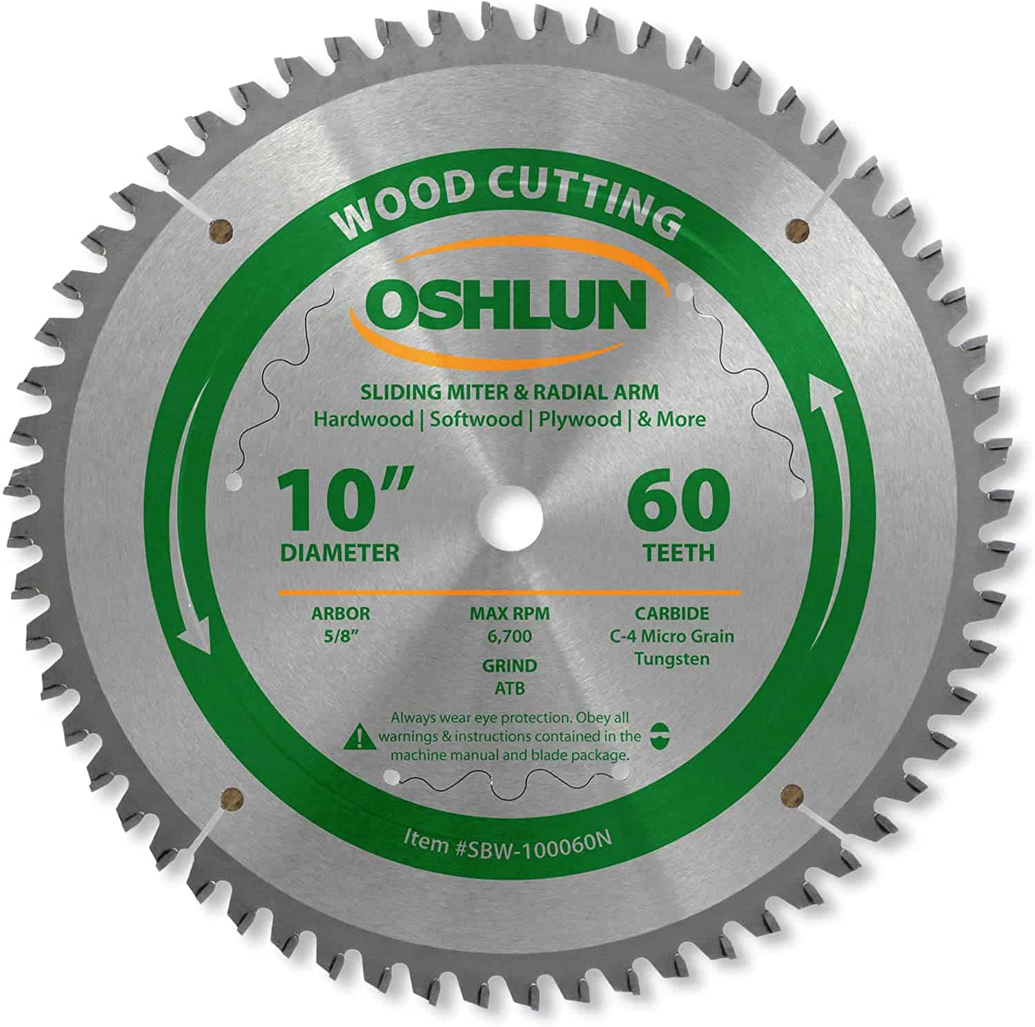 Best saw blade for different types of wood- Oshlun SBW-100060N ATB Saw Blade