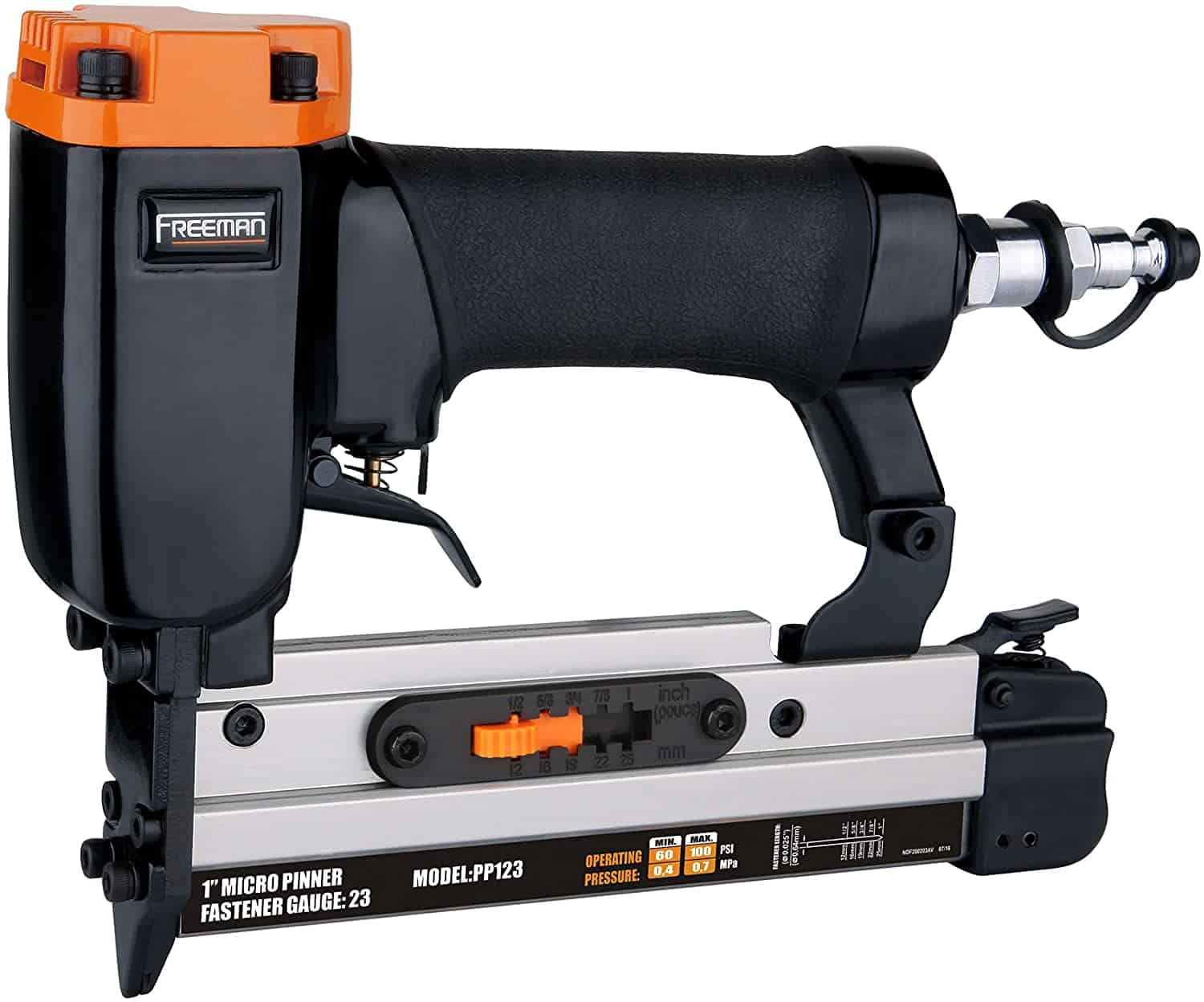 Freeman PP123 Pneumatic 23-Gauge 1 Micro Pinner Ergonomic and Lightweight Nail Gun with Safety Trigger and Pin Size Selector