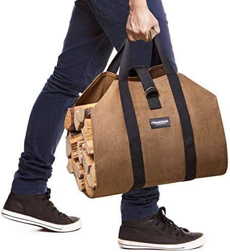 Best log carrier overall- Amagabeli Sturdy Wood Carrying Bag being carried