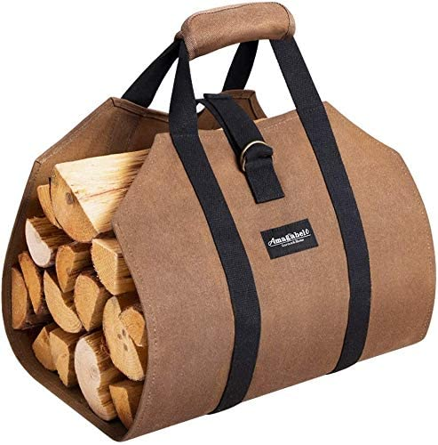 Best log carrier overall- Amagabeli Sturdy Wood Carrying Bag